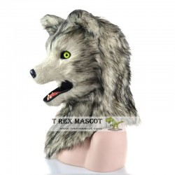 Realistic Grey Wolf Fursuit Head Mask Mascot Head